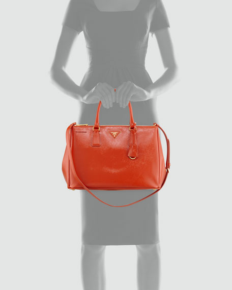 Saffiano Vernice Small Tote Bag, Dark Orange