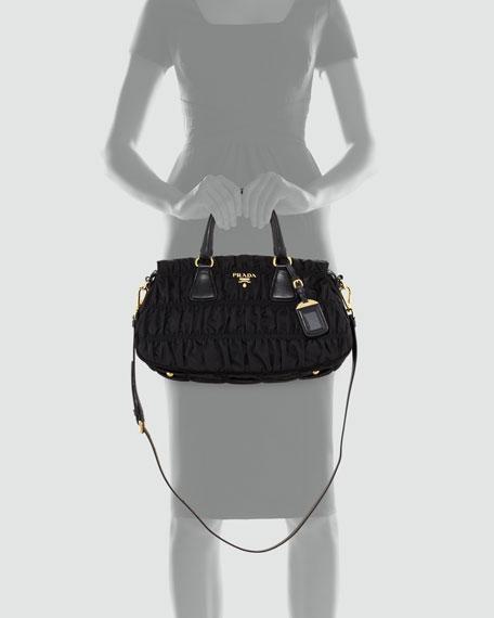 Nylon Gaufre Small Tote Bag, Nero