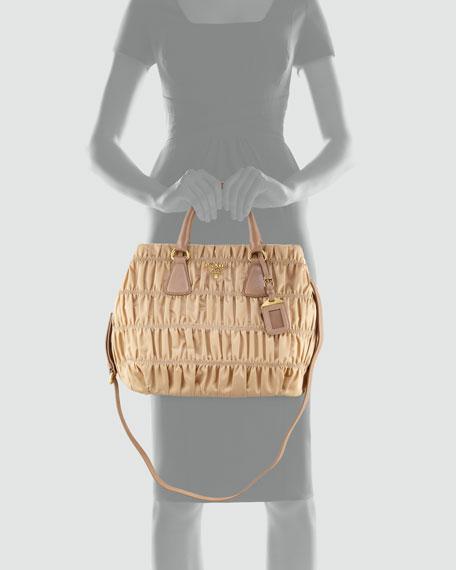 Tessuto Gaufre Medium North-South Tote Bag, Light Camel