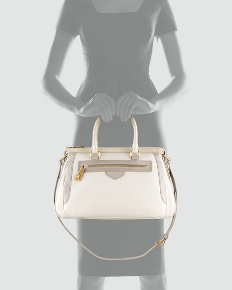 The Ziplocker Satchel Bag, Cream