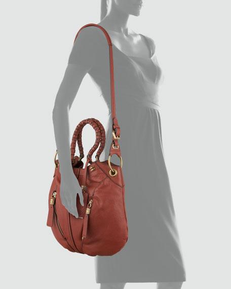 Gwen Leather Shoulder Bag, Brick