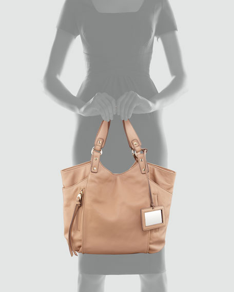 Logan Leather Tote Bag, Nude