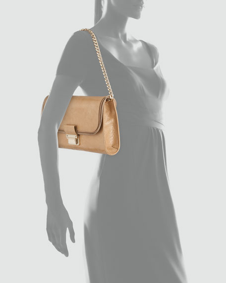 Lou Mini Patent Shoulder Bag, Nude