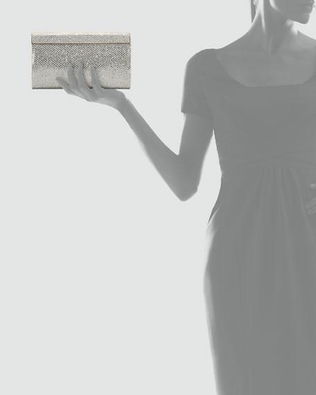 Cayla Metallic Flap Clutch Bag, Champagne