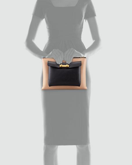 Flat Portfolio Removable-Pocket Bag, Nude/Carbone
