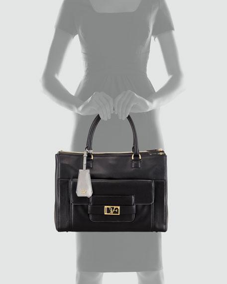 Eva Leather Tote Bag, Black
