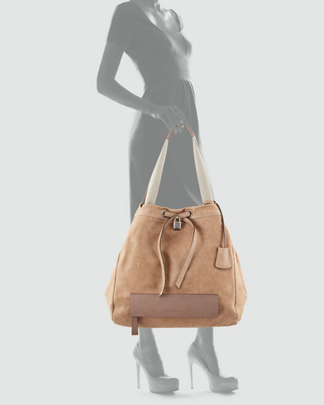 Suede Large Lock Bucket Tote Bag, Light Taupe