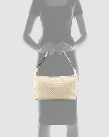 Medium Woven Zip Hobo Bag, Off White