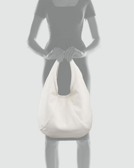 Cervo Medium Open Shoulder Hobo Bag, Bright White