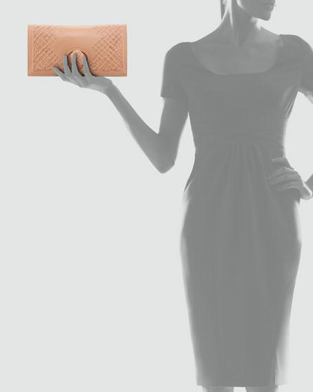 Ricamo Rete Fold-Over Clutch Bag, Light Camel