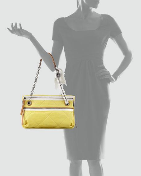 Amalia Medium Quilted Lamb Shoulder Bag, Yellow