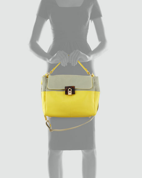 For Me Double Carry Medium Handbag, Sea Green/Yellow