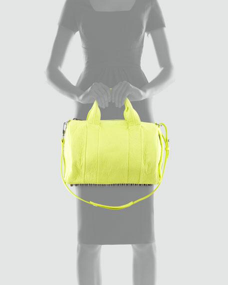 Rocco Stud-Bottom Duffel Bag, Acid Green