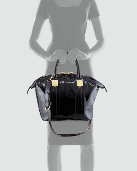 Morrison Medium Patent Tote Bag, Black