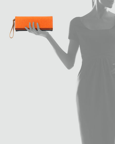 Rush Colorblock Clutch Bag, Orange/Gray