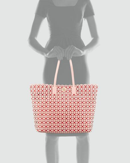 Kelsey Laser-Cut East-West Tote Bag, Pink/Poppy