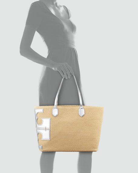 Stacked-T Straw Tote Bag, Silver