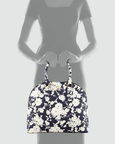 Floral-Print Coated Dome Satchel Bag, Navy