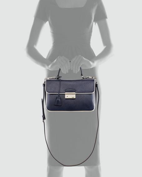 Medium Flap Bag, Navy/White