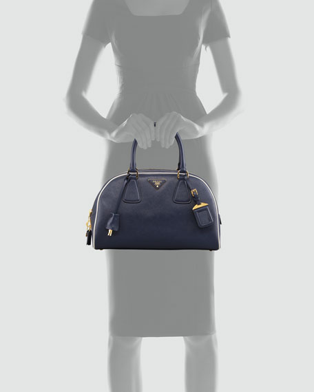 Medium Double-Handle Dome Tote Bag, Navy/White