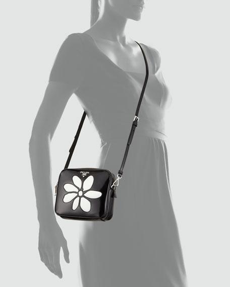 Spazzolato Small Flower-Front Crossbody Bag