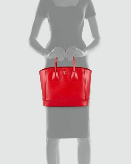 Coated Saffiano Medium Open-Top Tote Bag, Red
