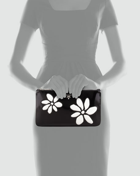 Small Spazzolato Zip-Top Flower Clutch, Black