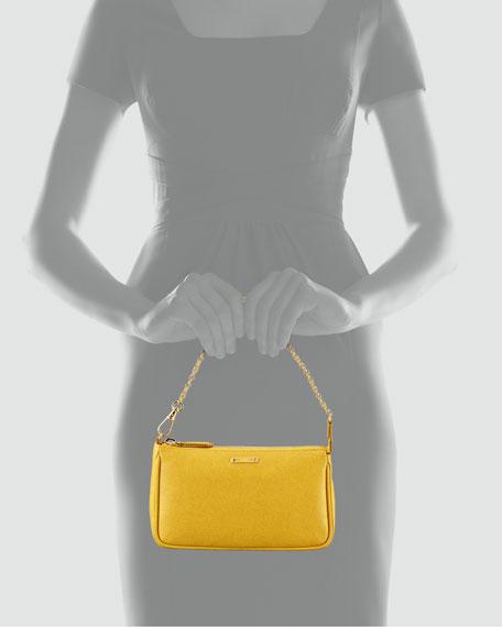 Mini Chain-Strap Pochette Bag, Chantilly Yellow