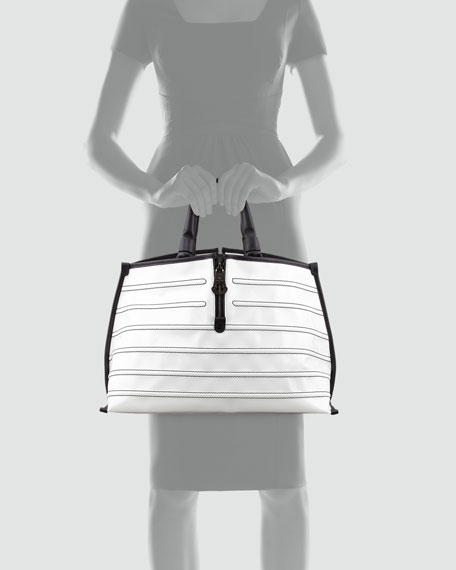 Amelie Patent Tote Bag, White