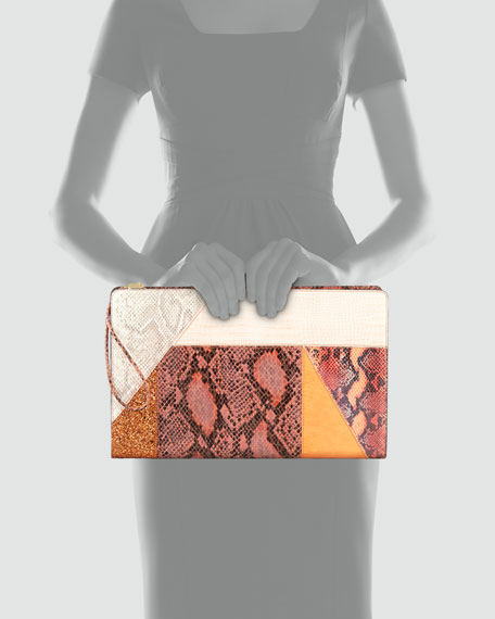 Patchwork Oversized Clutch Bag, Orange