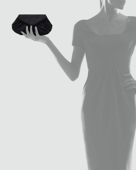 Diana Glittery Suede Pouchette Clutch Bag, Black