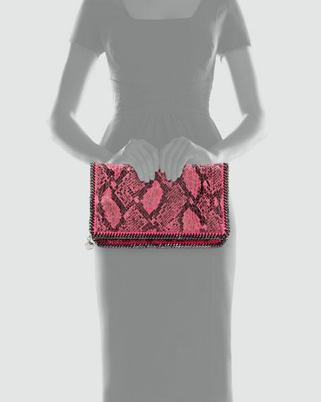 Falabella Snake-Print Foldover Clutch Bag, Fuchsia