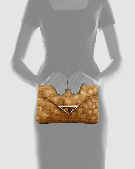 Bella Raffia Envelope Clutch Bag, Tobacco