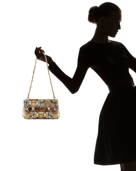 Lily Snake-Print Clutch Bag, Golden Python