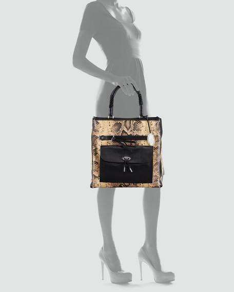 Regina Snake-Embossed Tote Bag