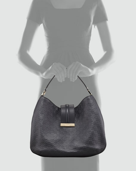 New Ladies Web Large Hobo Bag, Nero