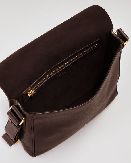 Flap Messenger with Zip, Brown