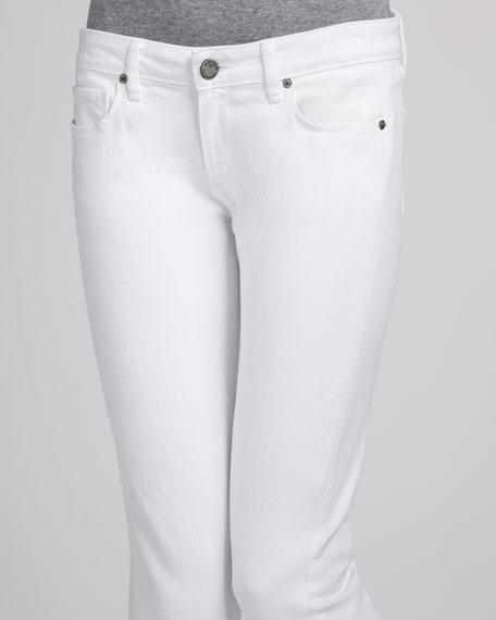 Kylie Optic White Slit-Hem Cropped Jeans