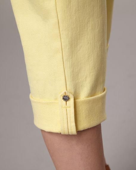 Carmen Button-Cuff Cropped Jeans, Women's