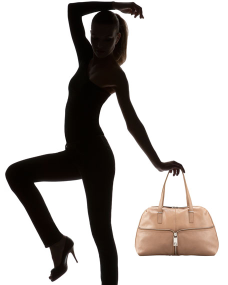 Leather Zip-Front Satchel