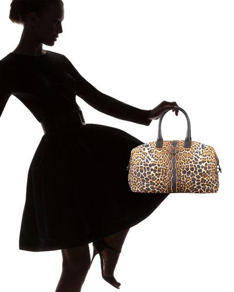 Leopard-Print Nylon Bowler