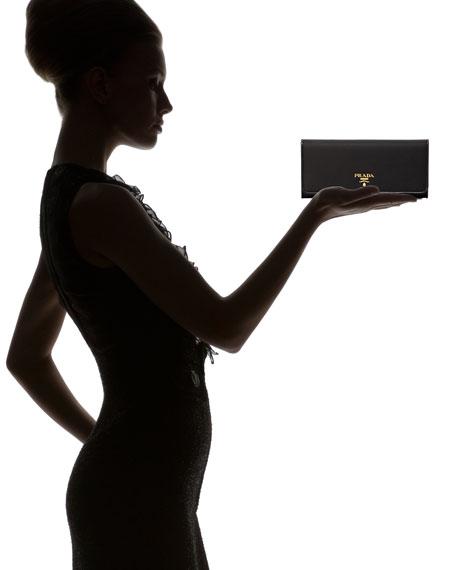 prada cheap online - Prada Tessuto and Saffiano Flap Wallet