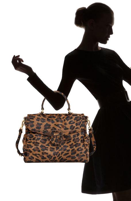 Cavallino Leopard-Print Hair Calf Top-Handle Brief