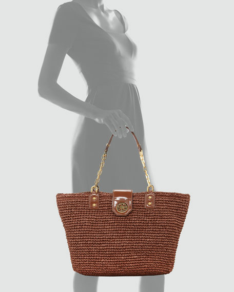 Straw Turn-Lock Tote