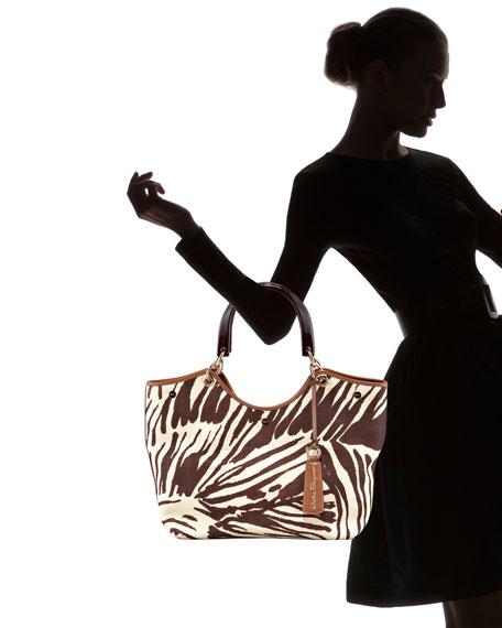 Zebra-Print Straw Tote