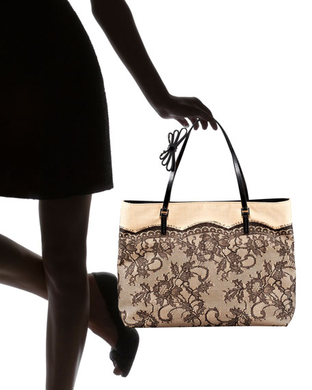 Lace Straw Tote