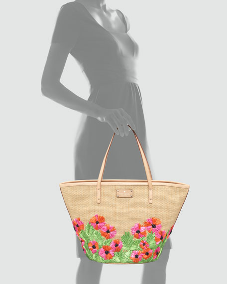 floral-embroidered coal tote