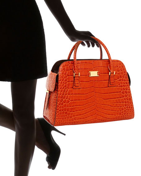 Gia Crocodile-Embossed Leather Satchel, Tangerine