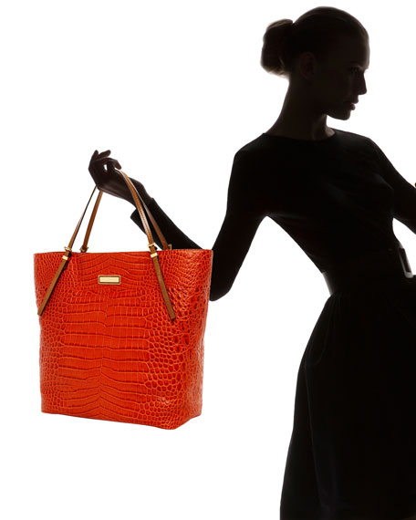 Gia Large Slouchy Tote, Tangerine