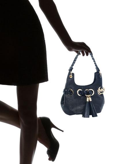 Small Grommet Shoulder Bag, Black/Black